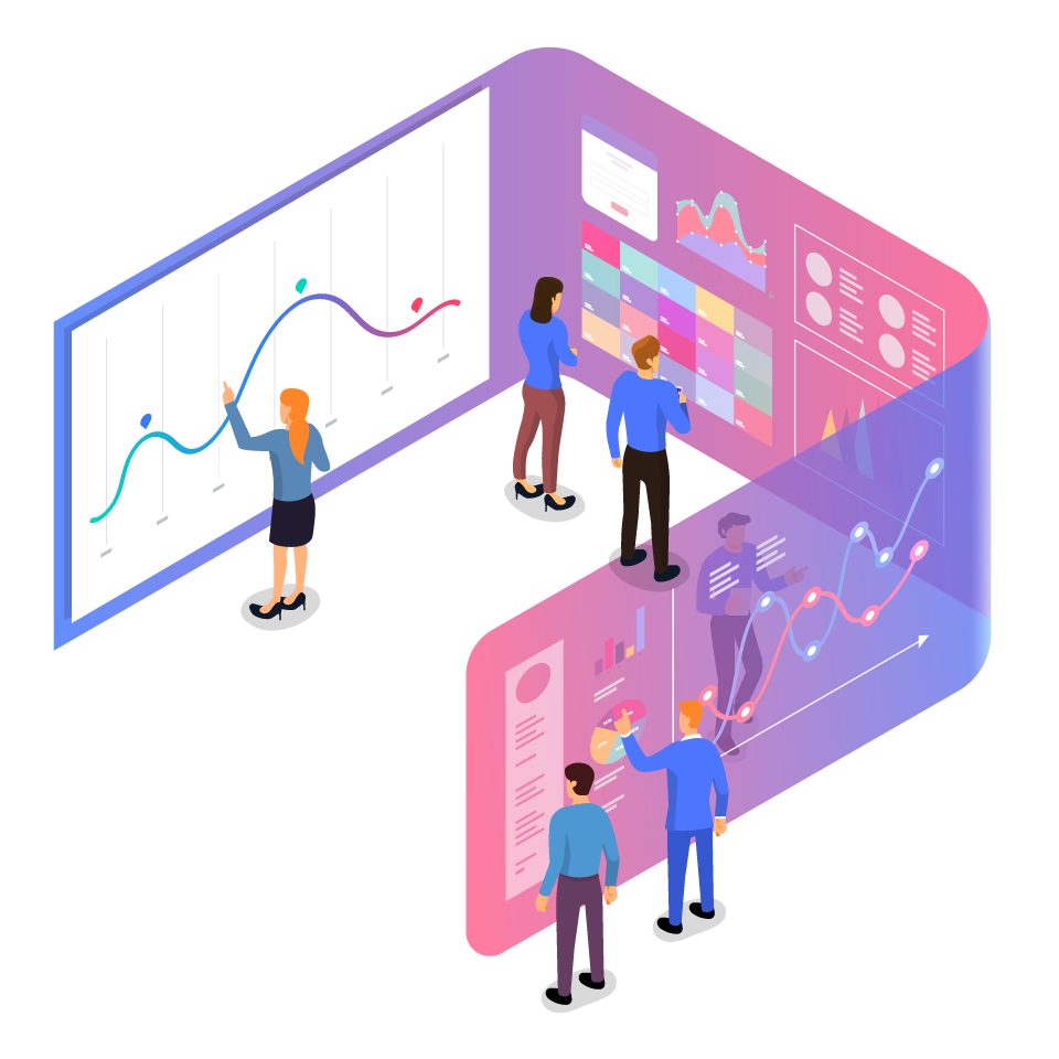 People With Data Panels Illustration
